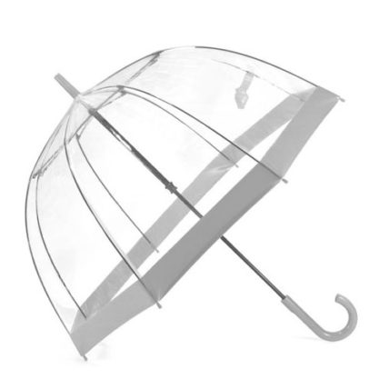 Clifton PVC Clear Birdcage Silver Border Umbrella