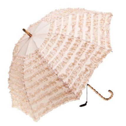 Clifton FIFI Fashion Frills Bamboo Look Beige Umbrella