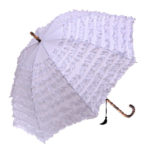 Clifton FIFI Fashion Frills Bamboo Look White Umbrella