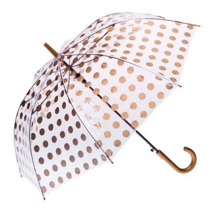 Clifton Auto Open PVC Gold Spots Umbrella