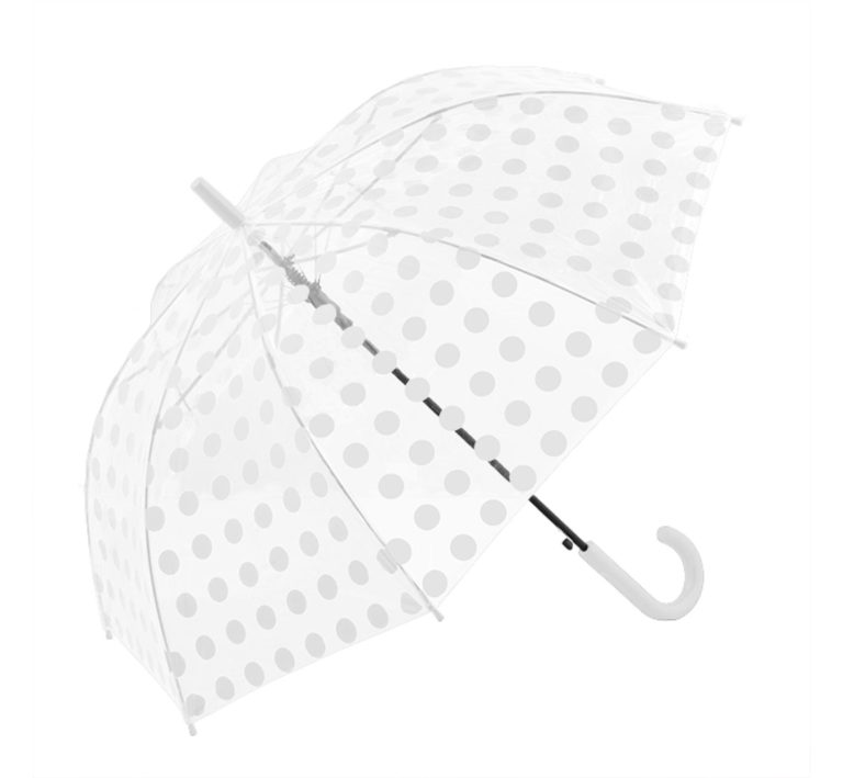 Clifton Auto Open PVC White Spots Umbrella